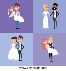 set bried and groom marry style