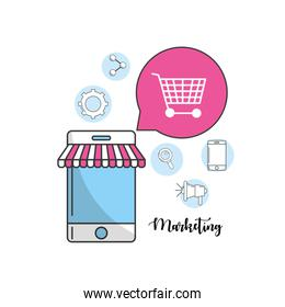 smartphone with marketing icons information