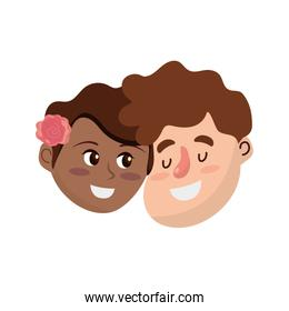 happy couple face with hairstyle design