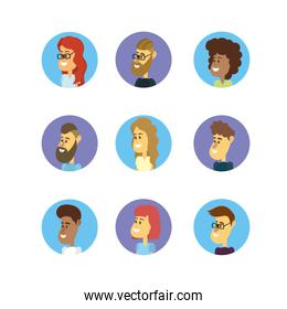 set avatar people with hairstyle design