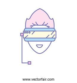 boy face with 3d glasses to dimension experience