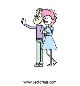 beauty couple with hairstyle and smartphone in the hand