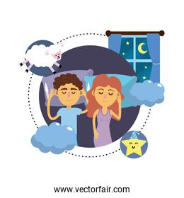 couple sleeping together with good dreams