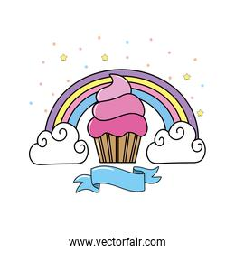 delicious muffin with rainbow and clouds with ribbon