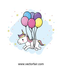 cute unicorn with horn and hairstyle with balloons
