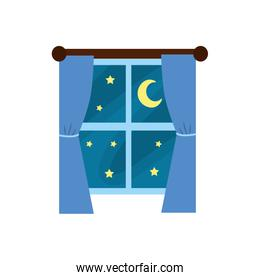 window with curtain the night and moon with star