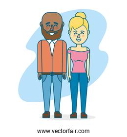 cute couple with hairsty design and clothes