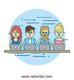 businesspeople teamwork with laptop and hairstyle design