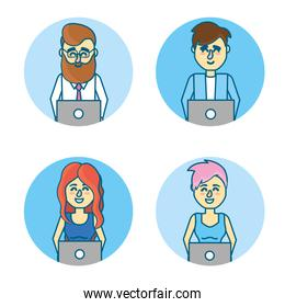 set businesspeople with laptop and hairstyle design
