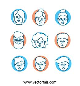 set people head with hairstyle design