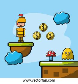 videogame with soldier and coins with enemies character