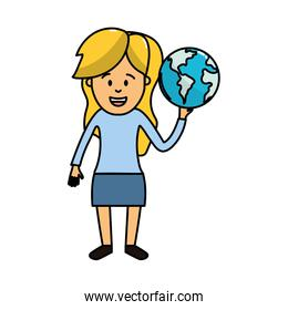woman with global earth planet in the hand