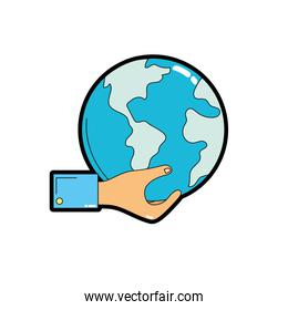 man hand with global earth planet