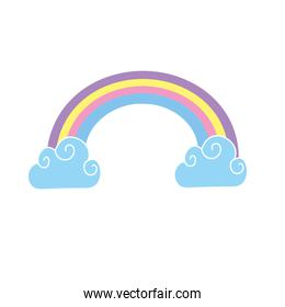 beauty rainbow with cloud weather design