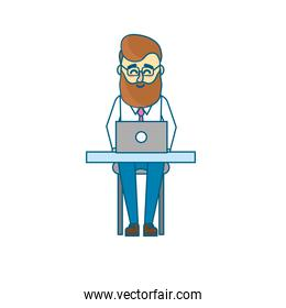 profesional businessman with laptop and corporate job