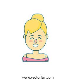beauty woman with hairstyle design and blouse
