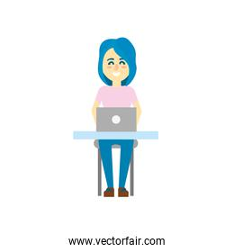 profesional businesswoman with laptop and corporate job