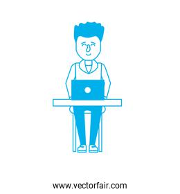 silhouette profesional businessman with laptop and corporate job