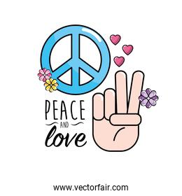 peace and love symbol and global spirit