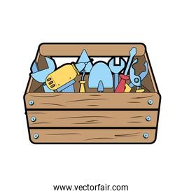 wooden tool box with equipment to industry repair