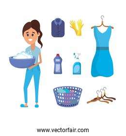 laundry equipment and woman doing a domestic job