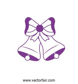 silhouette bells with ribbon bow decoration design