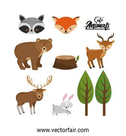 set cute wild animal with natural trees