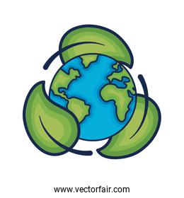earth planet with ecological leaves design