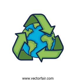earth planet with recycle symbol design