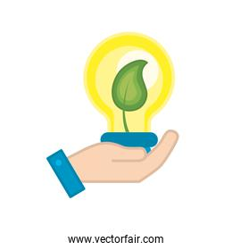 hand with bulb with leaf inside