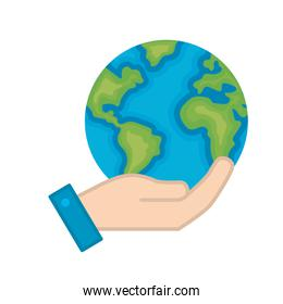 hand with earth planet and natural ecology