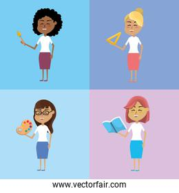 set teacher woman with hairstyle design