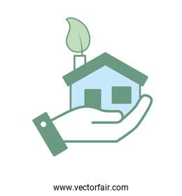 hand with house with ecological leaf to environment care