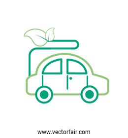 green line ecologycal car with leaves to environment care