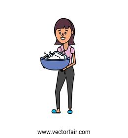 isolated woman with hairstyle and pail with soap