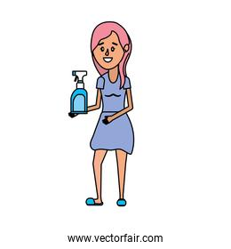 woman with hairstyle and spray soap
