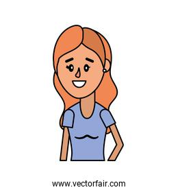 woman with hairstyle and blouse design