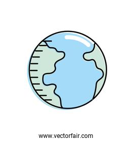 earth planet with geography ocean map