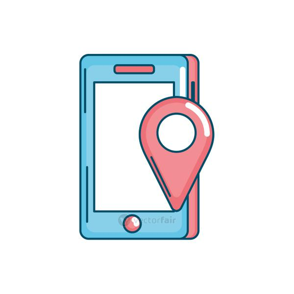 smartphone technology with location map symbol