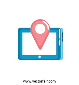 tablet technology with location map symbol