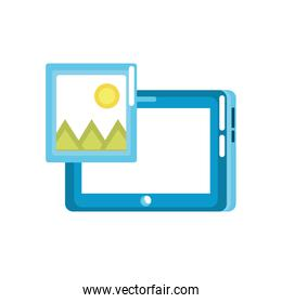 tablet technology with picture icon