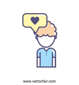social man with chat bubble icon