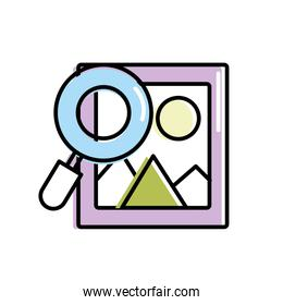 frame picture with magnifying glass icon