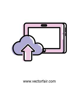 tablet technology with cloud data icon