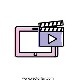 tablet technology with clapperboard video icon