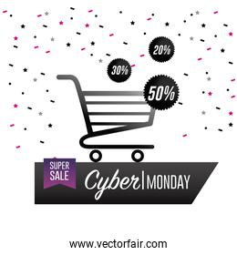 cyber monday offer with shopping car and balloons decoration