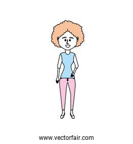 woman with hairstyle design and clothes