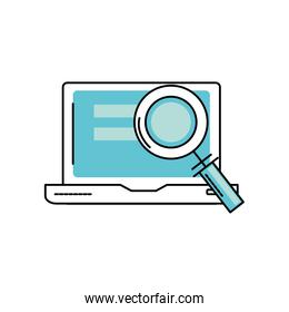 laptop technology information with magnifying glass