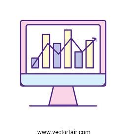 computer technology with statistics bar diagram