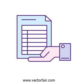 businessman with document information in the palm hand